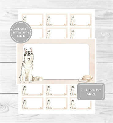 Siberian Husky 42 Self Adhesive Stickers, Blank For Address Labels/Fun Gift Tags