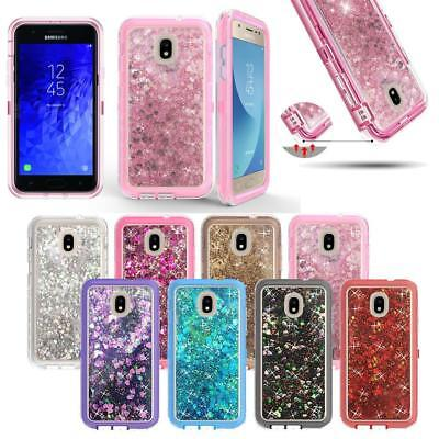 For Samsung Galaxy J3 and J7 2018 Glitter Liquid Defender Bling Quicksand Case