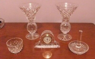 Collection of 5 pieces of TYRONE crystal, including Small Clock, Vases, etc.