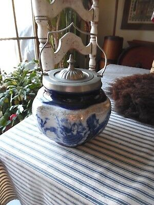 ANTIQUE Ironstone ENGLISH BISCUIT JAR Victoria Ware with Floral Decorations