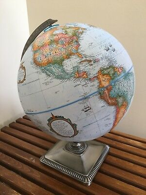 "VTG Replogle 12"" Inch Diameter Globe World Classic Series BEAUTIFUL Square Base"