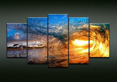 Home Decor Canvas Pictures Wall Art Modular Framework 5 Pieces Sunset Sea Waves