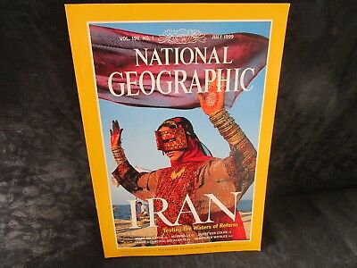 National Geographic July 1999 vol 196 No 1 Iran, Mars on Earth, Hornbills, Color