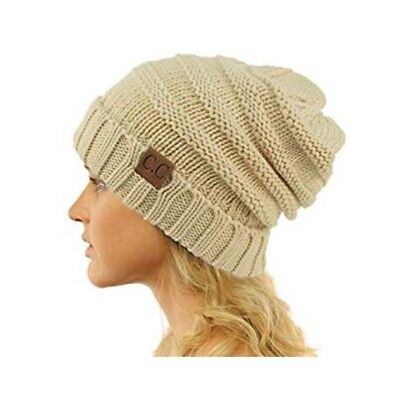 C.C. Slouchy Cream Oversized Beanie Hat