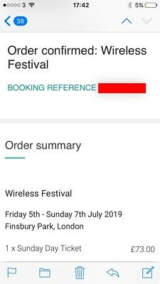 Wireless Festival 2019 Sunday Ticket SOLD OUT