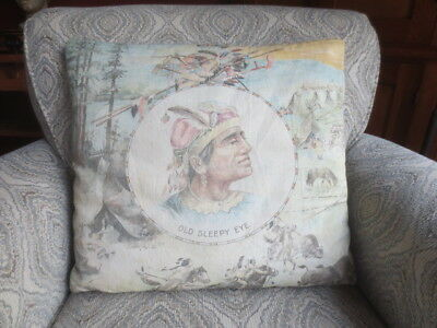 Antique Vtg Old Sleepy Eye Indian Pillow Bisons Tepees Arrows Horse Cabin Decor