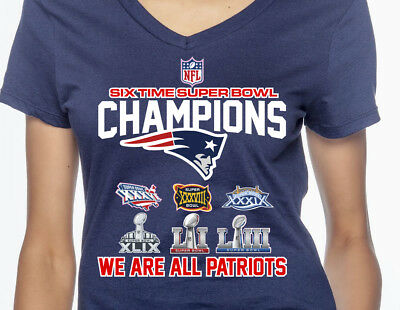 New England Patriots 6 Time Super Bowl Champions NFL Graphic T-Shirt Women's