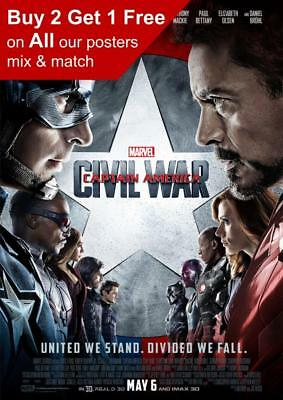 Captain America Civil War 2016 Movie Poster A5 A4 A3 A2 A1