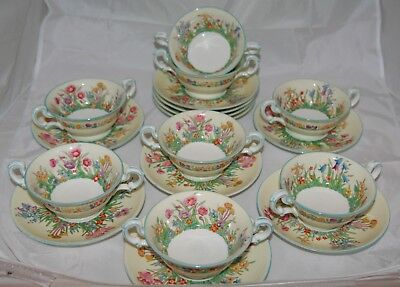 Wedgwood 'Prairie Flowers' Twin Handled Soup Bowl & Saucer 1758 - ONLY 1 LEFT