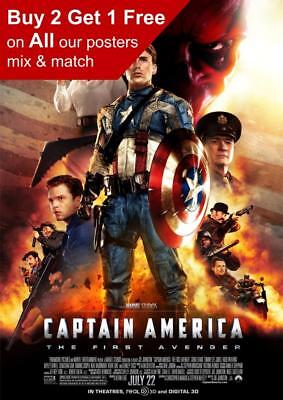 Captain America The First Avenger 2011 Movie Poster A5 A4 A3 A2 A1