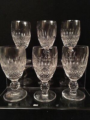 "6 Pretty Waterford Crystal ""Colleen Short Stem"" Port Sherry Glasses,  All Signed"