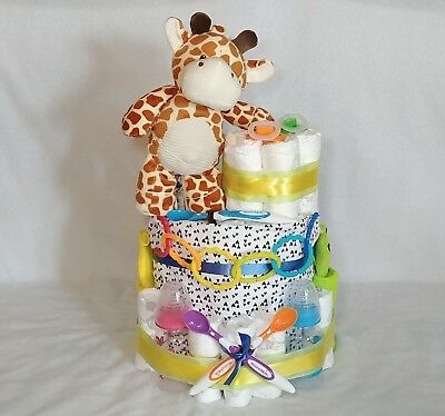 Rainbow 3 Tiered Diaper Cake with Baby Items and Lots of Diapers