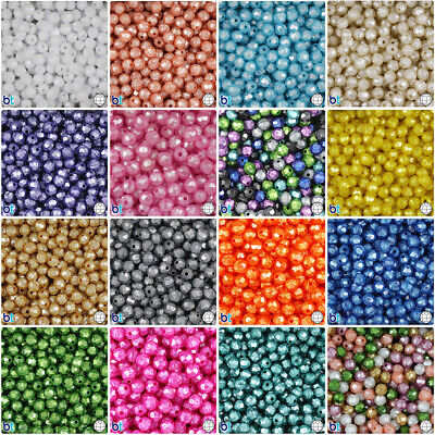BeadTin Pearl 8mm Faceted Round Craft Beads (450pcs) - Color choice
