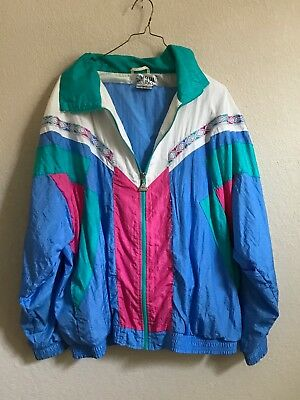 VTG 80s 90s CASUAL ISLE TRACK SUIT Jacket And Pants Windbreaker Set Multicolor