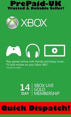 Xbox Live 14 Day Gold Trial Membership - XBOX ONE / 360 - Instant Delivery!