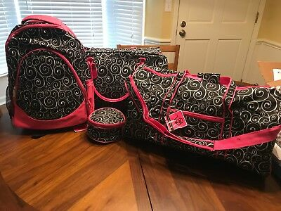 Wb Luggage Tote Bags Jewelry Case Bookbag Large & Medium Duffel Bags Black Pink
