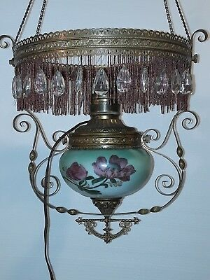 Antique Ornate Brass Corner Ceiling Electric Kerosene Oil Style Hurricane Lamp
