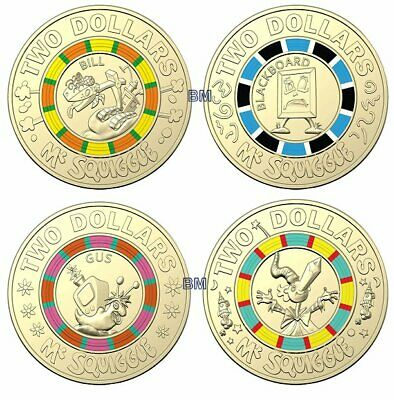 New Mr Squiggle & Friends $2 Coins - MR SQUIGGLE - BILL - BLACKBOARD - GUS COINS