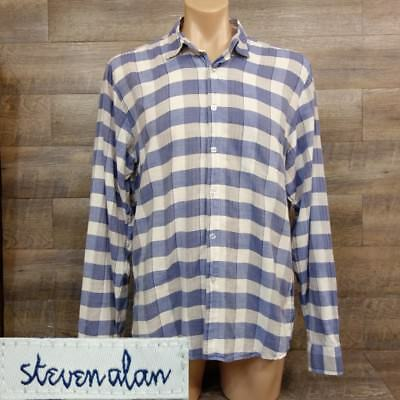 1b0e5bedefa Steven alan Mens Button Shirt Size XL Long Sleeve Plaid cotton blue white