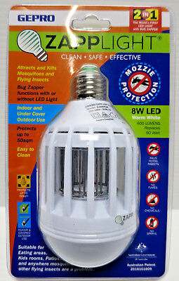 Zapp Light Bug & Mozzie Zapper Warm White Led 2 In 1 Kills Flying Insects Patio