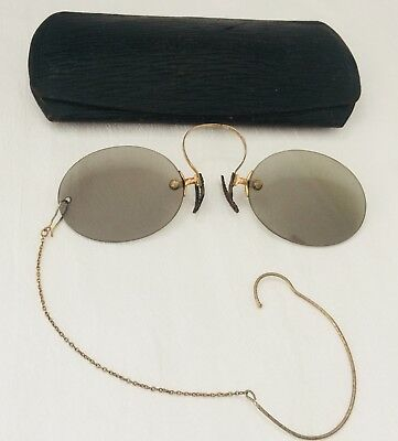 24f8b7dc00b ANTIQUE Silver Tone PINCE NEZ with GREEN Lens SPECTACLES w  Ear Wire Chain  +Case