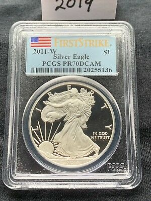 2011-W $1 Proof Silver Eagle PCGS PR70DCAM First Strike Flag Label PR 70 DCAM