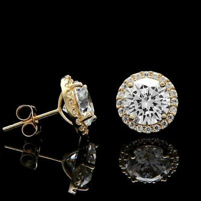 1.50Ct Round Brilliant Cut Diamond Halo Stud Earrings 14k Yellow Gold Over