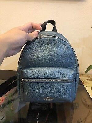 8a51d3100f66 Coach F29795 Metallic Pebbled Mini Charlie Backpack Handbag Metallic Sky  Blue