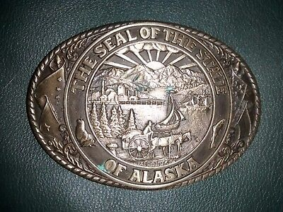 First Edition Alaska State Seal Tony Lama Solid Brass Belt Buckle