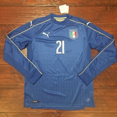 2016 17 Italy Home Jersey  21 Pirlo Medium Long Sleeve Puma Euro NEW 11ed22fb46702