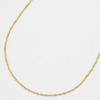 """24K Solid Yellow Gold 1.9g 1.2mm Width Screw Chain Necklace 16.5"""" made in Japan"""