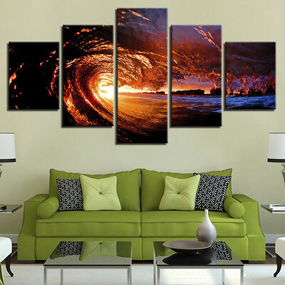 5 Piece sea wave Painting large Canvas Wall Art huge Modern Ocean Decor Printed