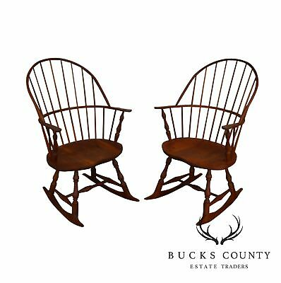 Bench Made Solid Cherry Sack back Pair of Windsor Rockers (D)
