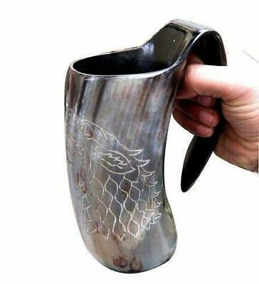 Game Of Thrones ~Stark Sigil Wolf Viking-Drinking Buffalo Horn Mug Beer Wine Cup
