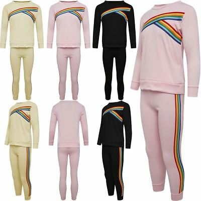 Girls Rainbow Stripe 2 Pieces Tracksuit Kids Sports Wear Top Joggers Co Ord Set