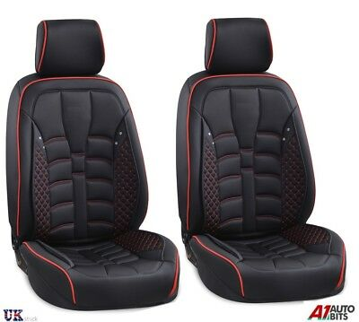 Deluxe Black Fabric & PU Leather Front Seat Covers Padded for Kia Hyundai