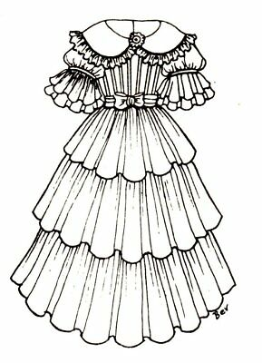 vintage pre 1970 doll patterns patterns doll making repair Princess Baby Dolls period dress outfit french german victorian pattern for a 16 to 17 doll 265
