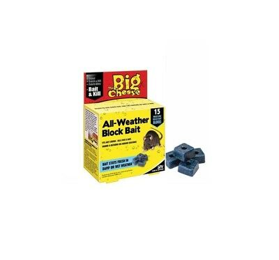 BIG CHEESE STV All Weather RAT POISON Bait Block Moisture Resistant Pack Of 15
