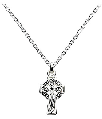 Heritage Womens Sterling Silver Celtic Small Cross Necklace 92A1OX, 18""
