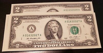 Rare Crisp 2013 Uncirculated $2 Bill Two Dollar A Note Sequential Order (A40)