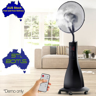Devanti Portable Misting Fan with Remote Control Cool Mist Breeze 40cm - Black