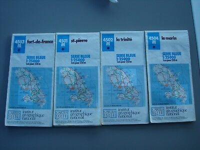 MARTINIQUE   4 cartes IGN  4501/4502/4503/4504   Série complete des 4 cartes