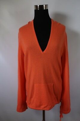 24511f563eb2b D08031 Women s J.Crew 100% Cashmere V-Neck Hooded Pullover Sweater Size M