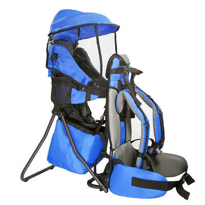 Clevr Baby Toddler Backpack Camping Hiking Child Kid Carrier w Shade Visor, Blue
