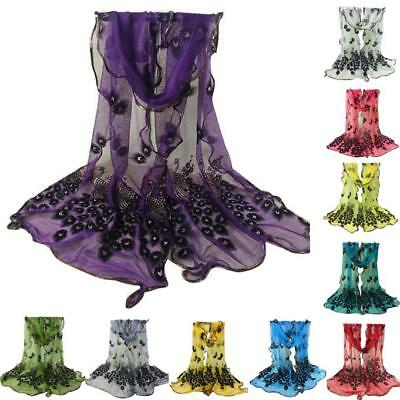Donne Ladies Peacock Fiore Sciarpa Embroidered Lace Scarf Long Soft Wrap Sciarpa