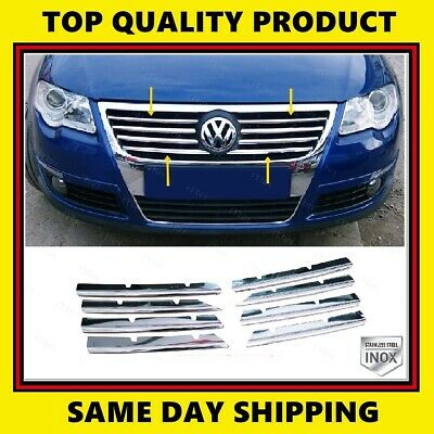 2005-2012 VW PASSAT 3C B6 Chrome Cover Front Grill 8 Pieces S.STEEL