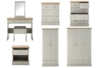Kendal Country Style Bedroom Range - Bedside, Chests, Wardrobes - Grey & Oak Top