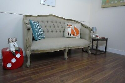 Handmade French Louis Sofa In Weathered Oak Finish - Hessian Coloured Fabric