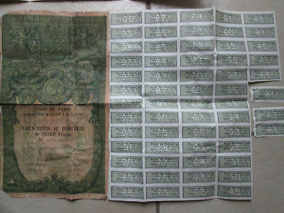Ville De Paris 1929 Emprunt A Lots Obligation 66 Coupons 4%