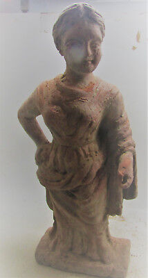 Ancient Hellenistic Greece Terracotta Statue A Standing Woman Very Rare